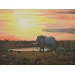 Elefanten am Wasserloch